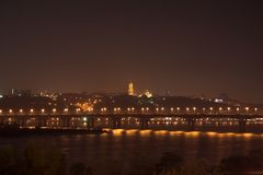 Viev de nuit de Kiev Photos stock