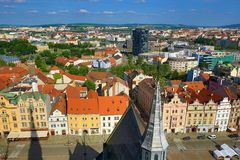 Viev from St. Bartholomew´s Cathedral on Repubblic Square, Pilsen, Czech Republic Royalty Free Stock Photo