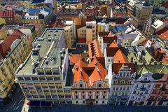 Viev from St. Bartholomew´s Cathedral on Repubblic Square, Pilsen, Czech Republic Stock Photos