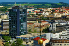Viev from St. Bartholomew´s Cathedral on Republic Square, Pilsen, Czech Republic Stock Photography