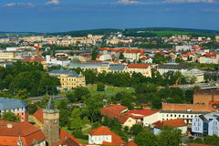 Viev from St. Bartholomew´s Cathedral on Republic Square, Pilsen, Czech Republic Royalty Free Stock Images