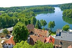 View on Łagowskie Lake. Łagów village and view on Łagowskie lake in Pojezierze Lubuskie, Poland Stock Image