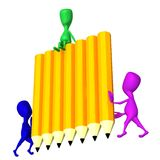 View 3d puppets hold wall from pencils. Side view 3d puppets hold wall from pencils Royalty Free Stock Image