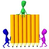 View 3d puppets hold wall from pencils. Front view 3d puppets hold wall from pencils Stock Photo
