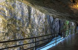 View in Aare gorge. Hiking in Aare mountain gorge. Switzerland royalty free stock photography