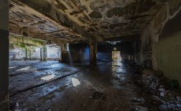 Abandoned industrial building. Wrecked interior. stock image