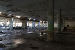 Abandoned industrial building. Wrecked interior. royalty free stock photo