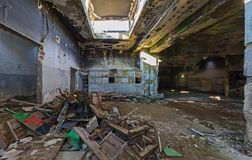Abandoned industrial building. Wrecked interior. royalty free stock photos