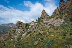 View at the abandoned city Pentedattilo, Italy stock photos