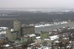 Grain elevator,. A view of an abandoned grain elevator Royalty Free Stock Image