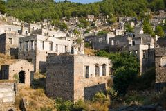 View of abandoned houses at village Kayakoy near Fethiye,Turkey, selective focus Royalty Free Stock Photography