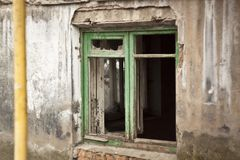View of the abandoned police station, the houses of eastern Ukraine after the war, Kramatorsk Stock Photo