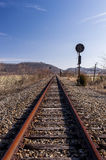 Abandoned Railroad Signal - Track View. A view of an abandoned railroad signal in southern Ohio on a sunny winter afternoon royalty free stock photography