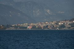 View of Abbadia lariana. A nice view of Abbadia larianafrom Malgrate, On the Lake of Como. November 2017. The main churchnnPanorama Royalty Free Stock Photography