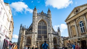 Abbey and Baths in Bath England stock images