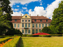 View on abbots palace and flowers in gdansk oliva park. Stock Images