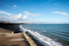 A view of Aberdeen Beach and John Codona`s leisure centre in a distance Royalty Free Stock Images
