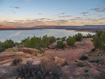 Sunset over Abiquiu Lake in Northern New Mexico stock photo