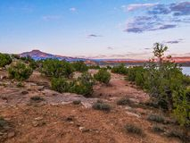 Sunset over Abiquiu Lake in Northern New Mexico royalty free stock photo