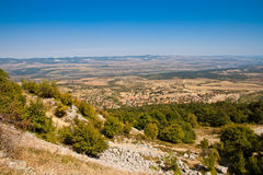 View from above. View to Vratsa, Bulgaria from the road to Mount Okolchitsa Stock Photography