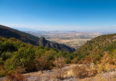 View from above. The forest and the Balkan Mountains in the distance Stock Photos