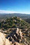 View from Above. View from the top of hill towards other hills and rock formations Stock Photo