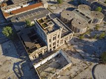 View from above of an abandoned wine-making plant stock images