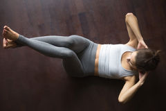 View from above. Abdominal crunches Royalty Free Stock Photography