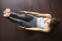 View from above. Abdominal crunches Royalty Free Stock Photos