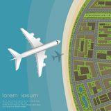 View from above. An airplane flying over the coast of the city. stock illustration