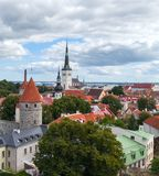 View from above of the ancient part of the city of Tallinn. Typical red tiled roofs. Estonia Royalty Free Stock Photography