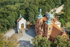 Saint Lawrence church in Prague. View from above on the Baroque Saint Lawrence church in Prague royalty free stock images