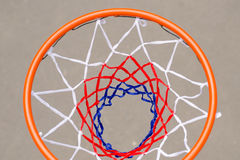 View from above of a basketball net and hoop Stock Photos