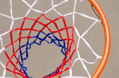 View from above of a basketball net and hoop Royalty Free Stock Photography