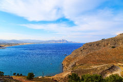 View from above of bay Rhodes, one of the Dodecanese Islands in the Aegean Sea, Greece. Stock Images