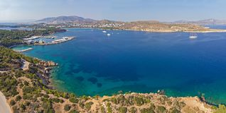 Vouliagmeni bay from above, Athens - Greece. View from above of the bay of Vouliagmeni. Vouliagmeni is the top tourist resort in Attica, Athens - Greece Stock Photography