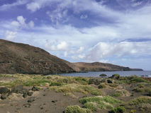 View from above on beach and Atlantic ocean on the Canary island Fuerteventura, Spain Stock Image