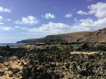 View from above on beach and Atlantic ocean on the Canary island Fuerteventura, Spain Royalty Free Stock Photo