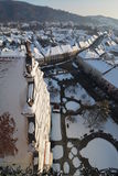 View from above of the Bistrita city in winter. Stock Photos