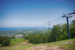 View above Blue Mountain Ski Resort with a chairlift in Collingw Royalty Free Stock Image