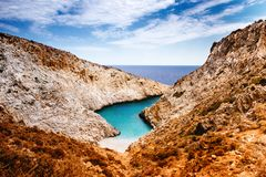 Landscape view from above - breathtaking view of remote, secluded beach. Cliffs and rocks on beach Stock Photo