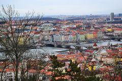A view from above of the bridges across the Vltava River in the city of Prague. Stock Image