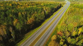View from above cars moving on highway road through forest. Highway road. View from above cars moving on highway road forest. Highway road on forest background stock footage