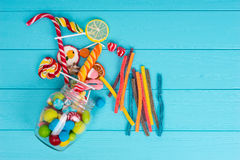 View from above on cattered chewing and licorice sweets, lollipo Royalty Free Stock Images