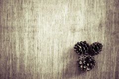 View from above Christmas background with pine corns. Vintage fi Stock Photo
