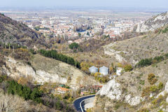 View from above of the city of Asenovgrad,Bulgaria. ASENOVGRAD,BULGARIA-02.05.15 : During the wars between the Bulgarian Empire and the Byzantine Empire, the Stock Photos