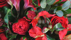 View from above, close-up. Flowers, bouquet, rotation , floral composition consists of Alstroemeria, Rose prestige. View from above, close-up. Flowers, bouquet stock footage
