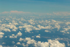 View above clouds and blue sky on airplane Royalty Free Stock Images