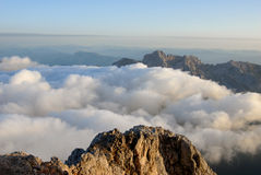 View above the clouds in the mountains Royalty Free Stock Image