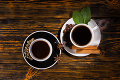 View from above of coffee and tea in cups Stock Photo